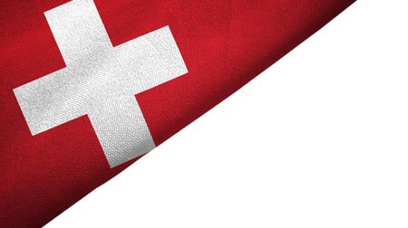 Switzerland flag isolated on white background placed on the left side with blank copy space