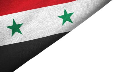 Syria flag isolated on white background placed on the left side with blank copy space 写真素材