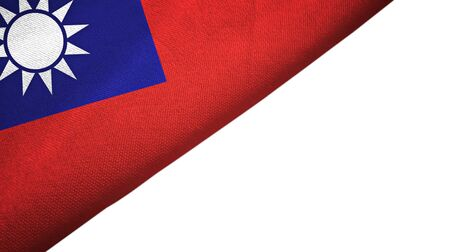 Taiwan flag isolated on white background placed on the left side with blank copy space 写真素材