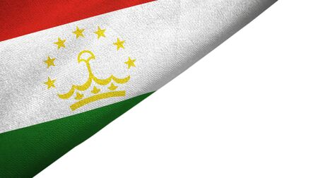 Tajikistan flag isolated on white background placed on the left side with blank copy space