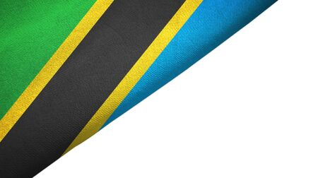 Tanzania flag isolated on white background placed on the left side with blank copy space 写真素材