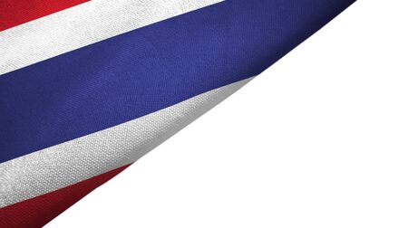Thailand flag isolated on white background placed on the left side with blank copy space 写真素材