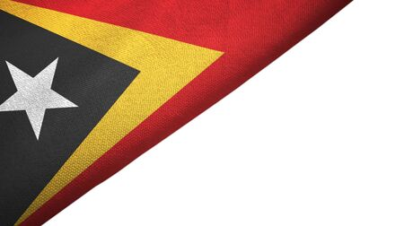 Timor-Leste East Timor flag isolated on white background placed on the left side with blank copy space