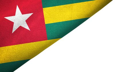 Togo flag isolated on white background placed on the left side with blank copy space