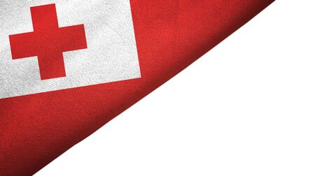Tonga flag isolated on white background placed on the left side with blank copy space
