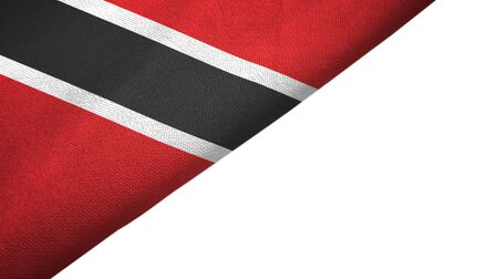 Trinidad and Tobago flag isolated on white background placed on the left side with blank copy space