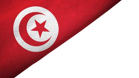 Tunisia flag isolated on white background placed on the left side with blank copy space