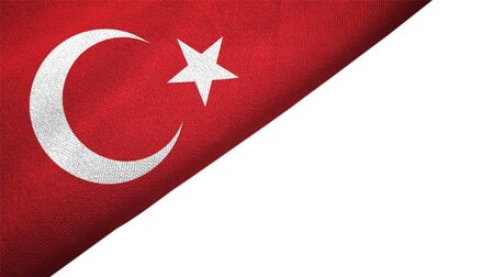 Turkey flag isolated on white background placed on the left side with blank copy space 写真素材