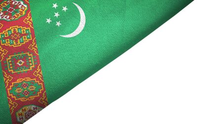 Turkmenistan flag isolated on white background placed on the left side with blank copy space