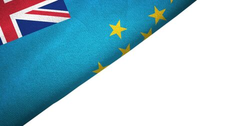 Tuvalu flag isolated on white background placed on the left side with blank copy space