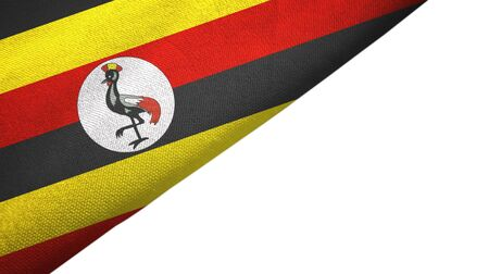 Uganda flag isolated on white background placed on the left side with blank copy space