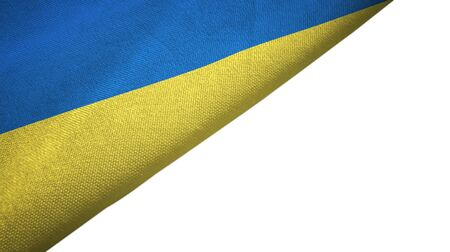 Ukraine flag isolated on white background placed on the left side with blank copy space