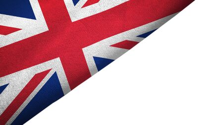 United Kingdom flag isolated on white background placed on the left side with blank copy space