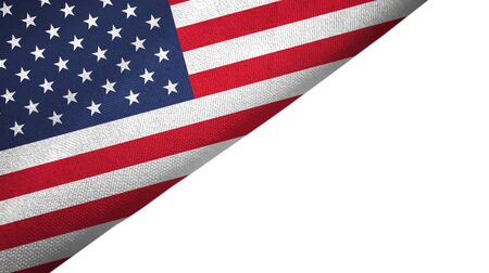 United States flag isolated on white background placed on the left side with blank copy space 写真素材