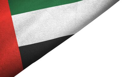 United Arab Emirates flag isolated on white background placed on the left side with blank copy space