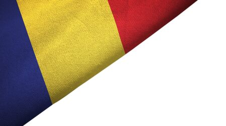 Romania flag isolated on white background placed on the left side with blank copy space 写真素材