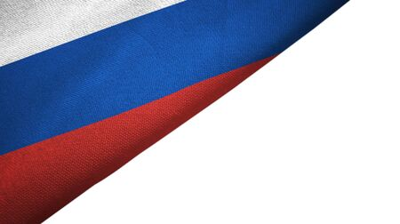Russia flag isolated on white background placed on the left side with blank copy space