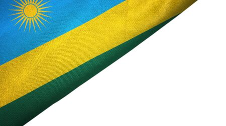 Rwanda flag isolated on white background placed on the left side with blank copy space