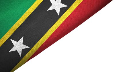 Saint Kitts and Nevis flag isolated on white background placed on the left side with blank copy space