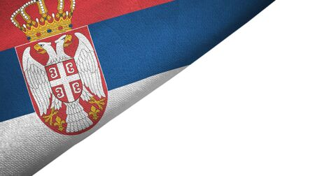 Serbia flag isolated on white background placed on the left side with blank copy space
