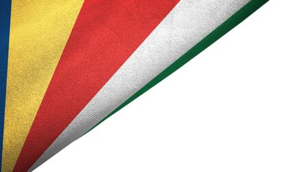 Seychelles flag isolated on white background placed on the left side with blank copy space