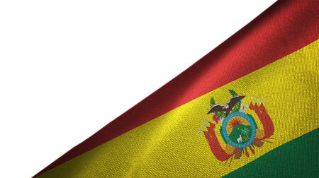 Bolivia flag isolated on white background placed on the right side with blank copy space Reklamní fotografie