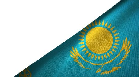 Kazakhstan flag isolated on white background placed on the right side with blank copy space