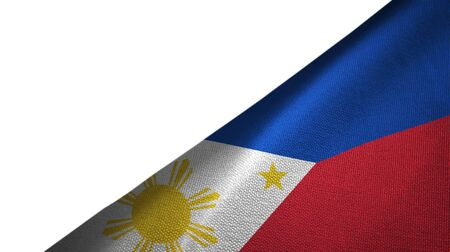Philippines flag isolated on white background placed on the right side with blank copy space Imagens