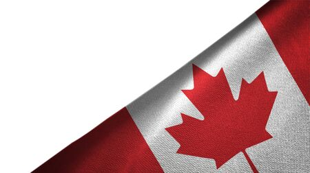 Canada flag isolated on white background placed on the right side with blank copy space Imagens