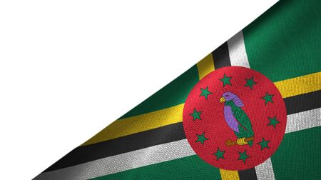 Dominica flag isolated on white background placed on the right side with blank copy space