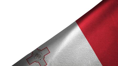 Malta flag isolated on white background placed on the right side with blank copy space