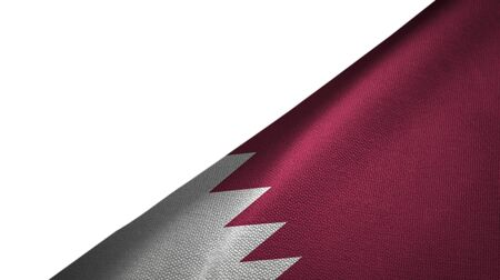 Qatar flag isolated on white background placed on the right side with blank copy space