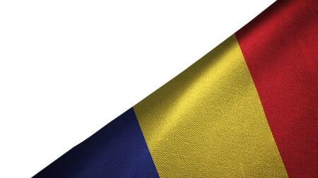 Romania flag isolated on white background placed on the right side with blank copy space Imagens