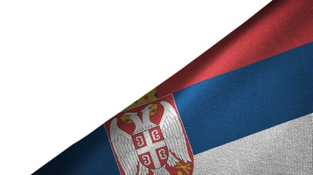 Serbia flag isolated on white background placed on the right side with blank copy space