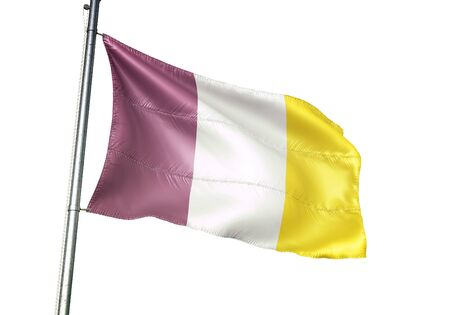 Ath of Belgium flag waving isolated on white background realistic 3d illustration