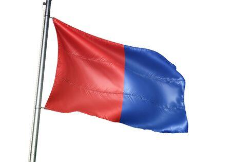 Bastogne of Belgium flag waving isolated on white background realistic 3d illustration