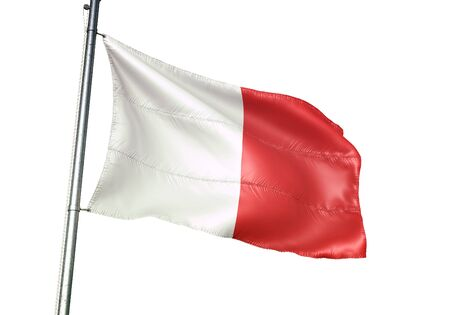 Beaumont of Belgium flag waving isolated on white background realistic 3d illustration Stock Photo