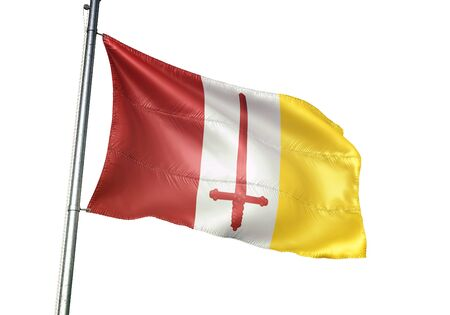 Aalst of Belgium flag waving isolated on white background realistic 3d illustration