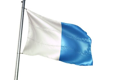 Arlon of Belgium flag waving isolated on white background realistic 3d illustration