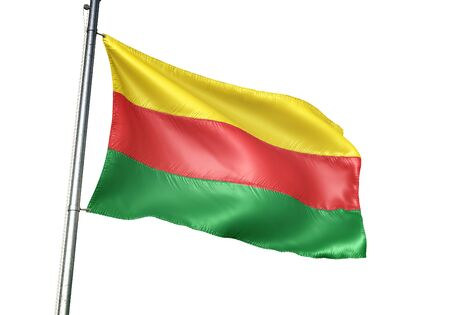 Bilzen of Belgium flag waving isolated on white background realistic 3d illustration Stock Illustration - 128866792