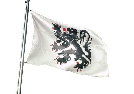 Binche of Belgium flag waving isolated on white background realistic 3d illustration Stock Photo