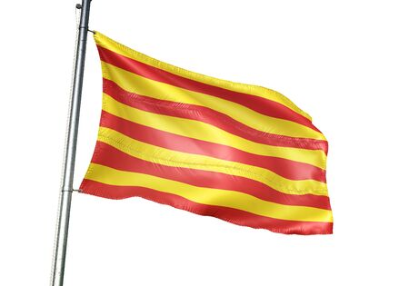 Borgloon of Belgium flag waving isolated on white background realistic 3d illustration