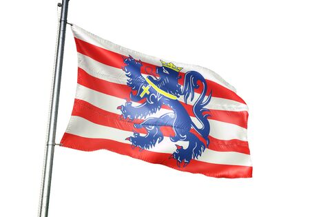 Bruges of Belgium flag waving isolated on white background realistic 3d illustration