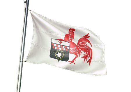 Charleroi of Belgium flag waving isolated on white background realistic 3d illustration Stock Illustration - 128867002