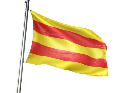 Dilsen-Stokkem of Belgium flag waving isolated on white background realistic 3d illustration