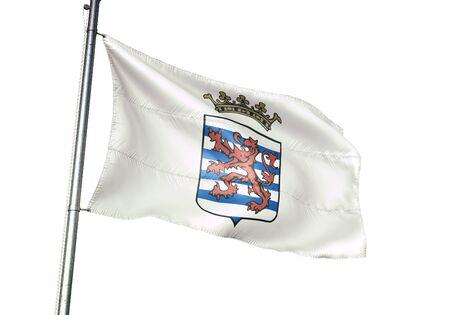 Durbuy of Belgium flag waving isolated on white background realistic 3d illustration Stock Illustration - 128867003