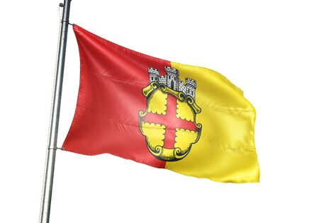 Eupen of Belgium flag waving isolated on white background realistic 3d illustration Stock Photo