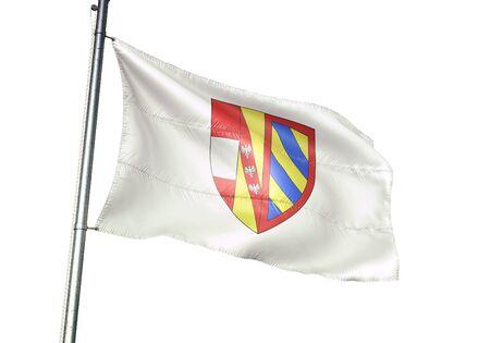 Florenville of Belgium flag waving isolated on white background realistic 3d illustration Stock Illustration - 128867010