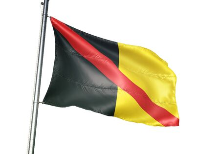 Fontaine-lEveque of Belgium flag waving isolated on white background realistic 3d illustration