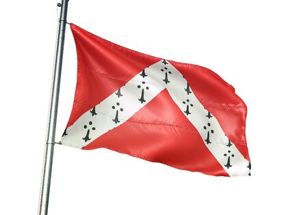 Gistel of Belgium flag waving isolated on white background realistic 3d illustration Stock Photo